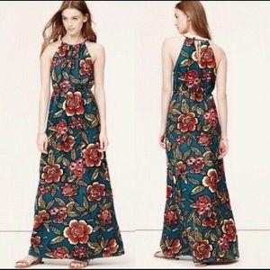 Ann Taylor Loft Paradise halter maxi dress Sz M